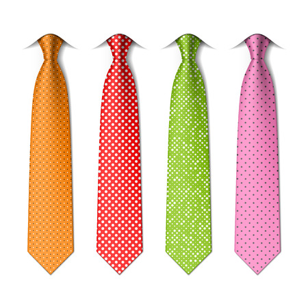 Pin, polka dots silk ties