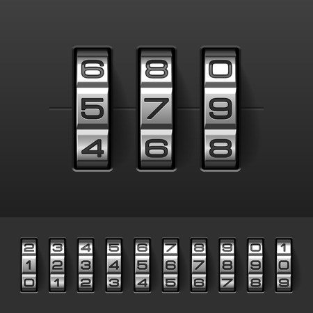 Combination, code lock numbers Vector