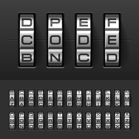 Combination, code lock alphabet Vector