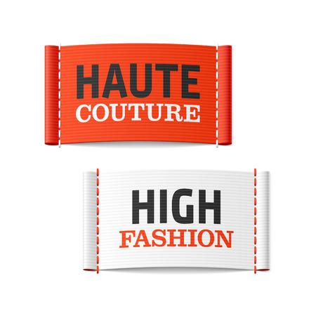 Haute Couture et Haute Couture étiquettes de vêtements