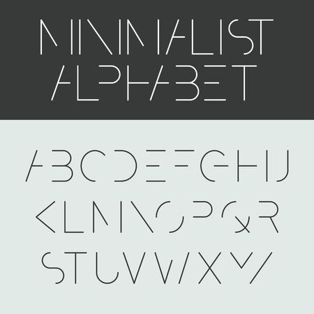 ミニマルなアルファベットのフォント デザイン  イラスト・ベクター素材