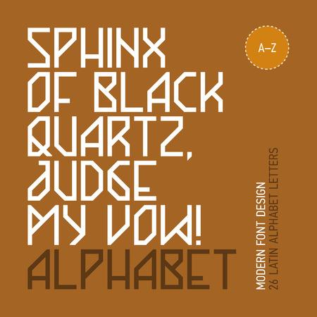vow: Sphinx of black quartz, judge my vow  Modern font design, 26 letters  Illustration