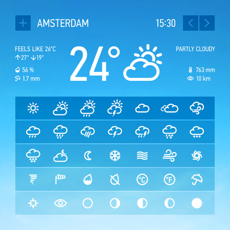 Weather widget icons set Vector