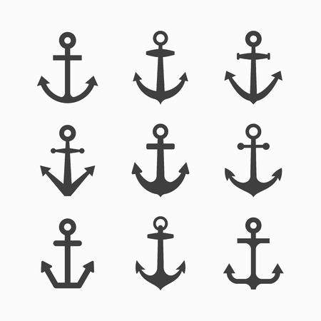 ancre marine: Ensemble de symboles d'ancrage Illustration