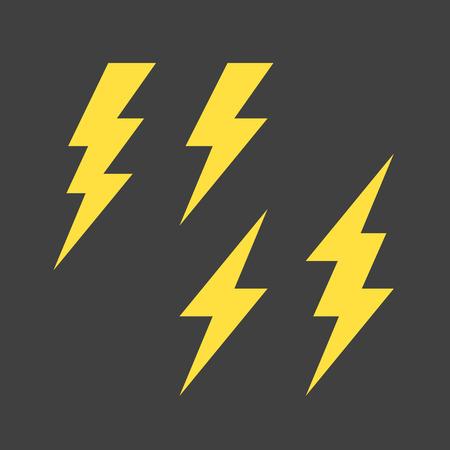 flashes: Flat lightning symbols set