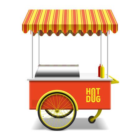 carretilla de mano: Perro caliente, calle cesta