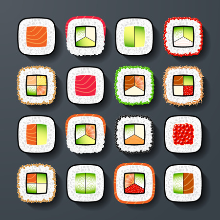 nigiri: Maki sushi types Illustration