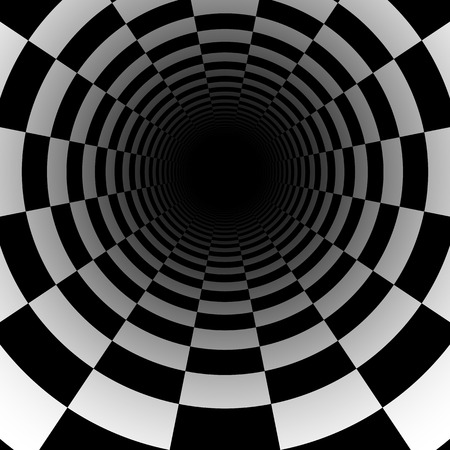Abstract chess tunnel background with perspective effect Vector
