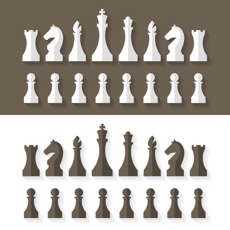 chess board: Chess pieces flat design style