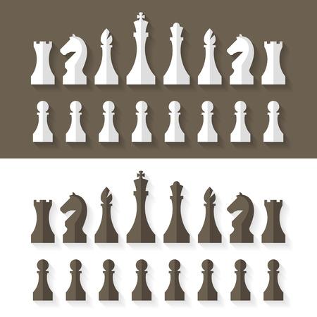 tablero de ajedrez: Piezas de ajedrez estilo dise�o plano Vectores