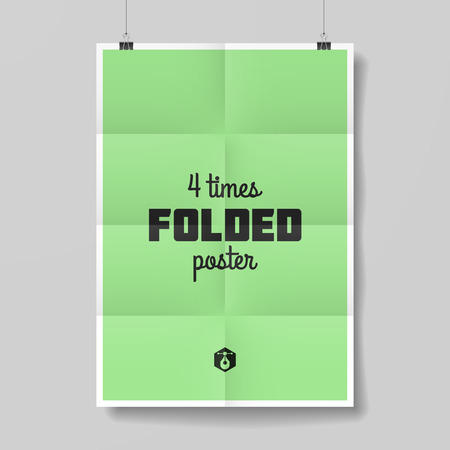 Four times folded poster template Vector
