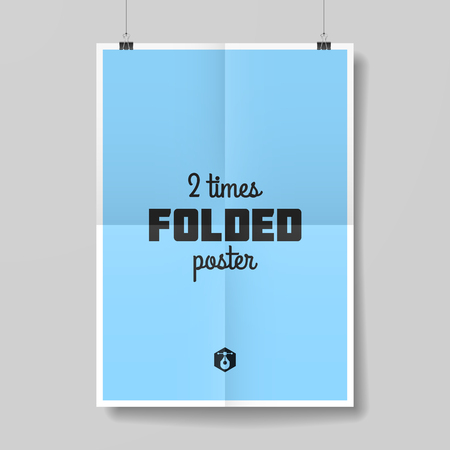 Two times folded poster template Vector