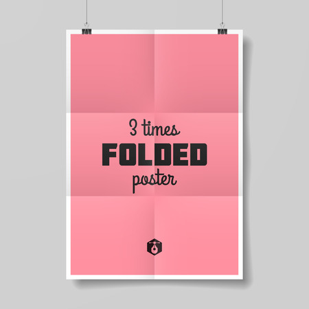 Three times folded poster template Illustration