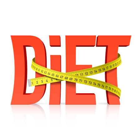 Diet with measuring tape concept Vector