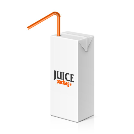 Juice or milk box with drinking straw template Vector