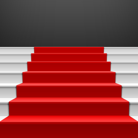 red carpet background: Staircase with red carpet