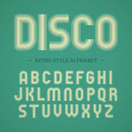 disco symbol: Retro style alphabet Illustration