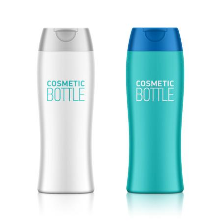 plastic: Cosmetische verpakkingen, plastic shampoo of douchegel fles template