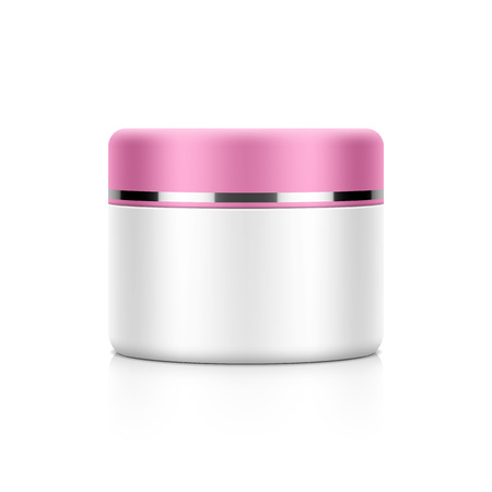 skin care products: Cosmetic packaging, cream, powder or gel jar template