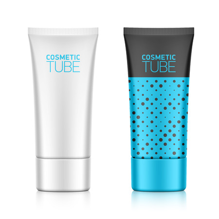 Cosmetic packaging, oval plastic tube template Vector
