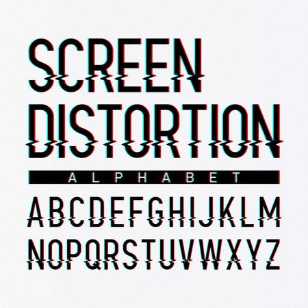 abecedario: Alfabeto distorsión de la pantalla Vectores
