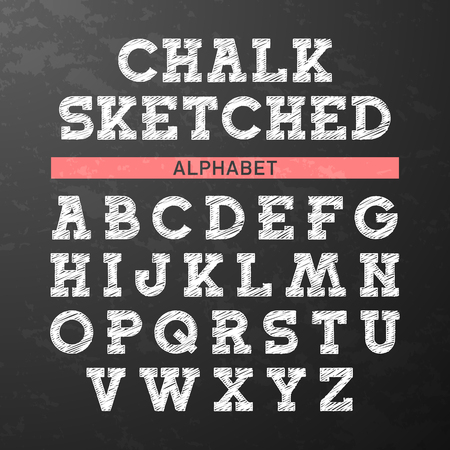 english: Chalk sketched font, alphabet