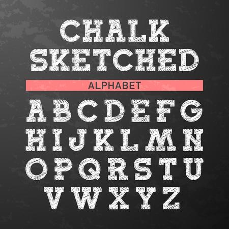 abecedario: Tiza esbozó la fuente, alfabeto