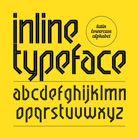 inline: Modern inline typeface, alphabet
