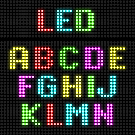 led display: LED display alphabet Illustration