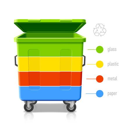 separacion de basura: Cestos de reciclaje colores infograf�a