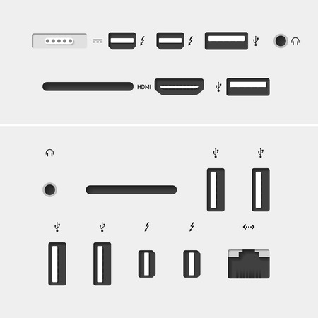 ethernet cable: Computer connectors with icons