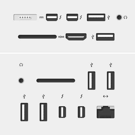 Conectores de ordenador con iconos