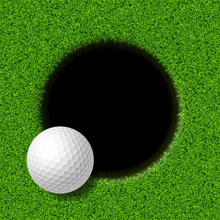 golf field: Golf ball on lip of cup