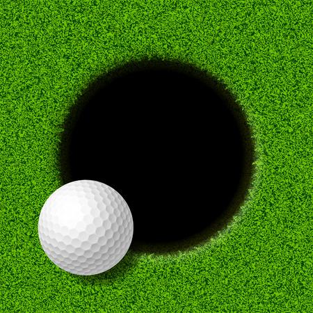 Pelota de golf en el labio de la taza Foto de archivo - 32228765