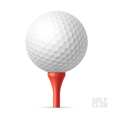 Golf ball on red tee