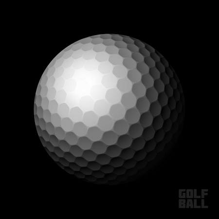Golf ball on black background Vector