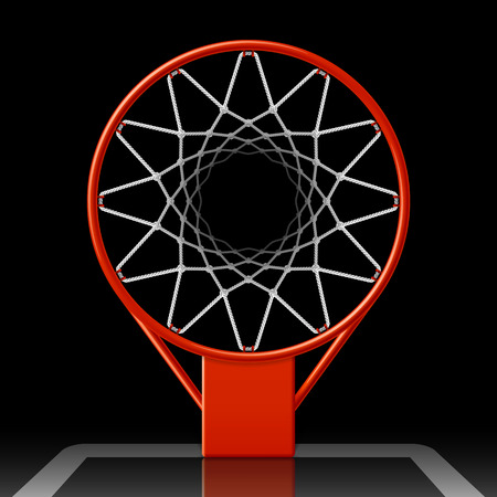 Basketball hoop on black, top view