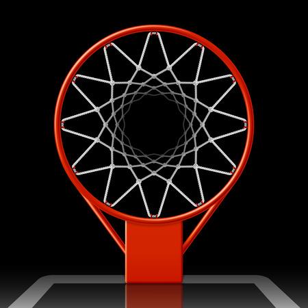 terrain de basket: panier de basket sur le noir, vue de dessus Illustration