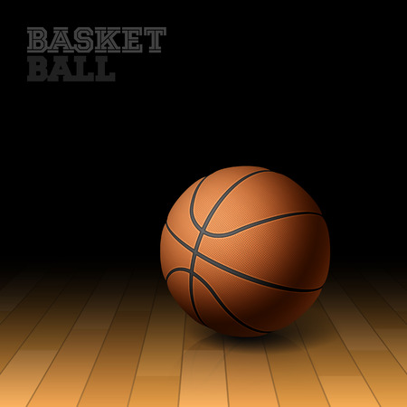 basket: Basketball on a hardwood court floor Illustration