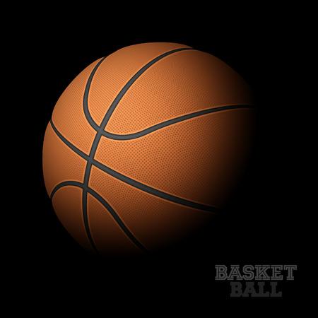 basketball shot: Basketball on black