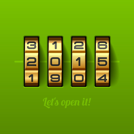 us open: Let us open new 2015 year card - combination lock