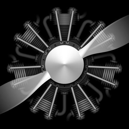 Motor de avión radial con la hélice