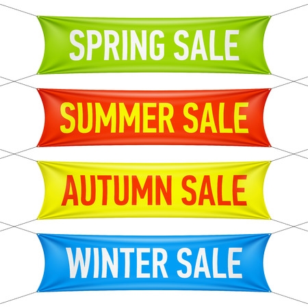 grand sale: Spring, summer, autumn, winter sale banners