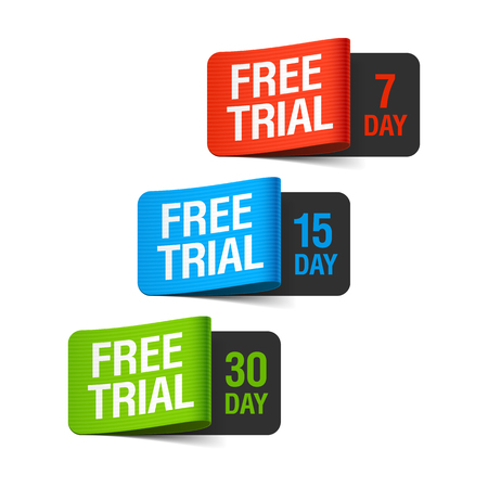 free trial: Free trial labels Illustration