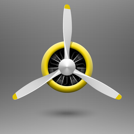 Vintage vliegtuig propeller met stermotor Stock Illustratie