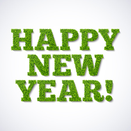 a holiday greeting: Happy new year card - green grass