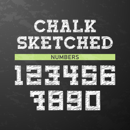 sketched: Chalk sketched numbers Illustration