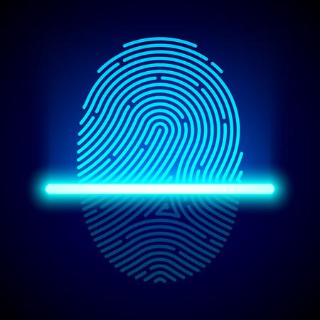 指紋スキャナー、識別システム  イラスト・ベクター素材