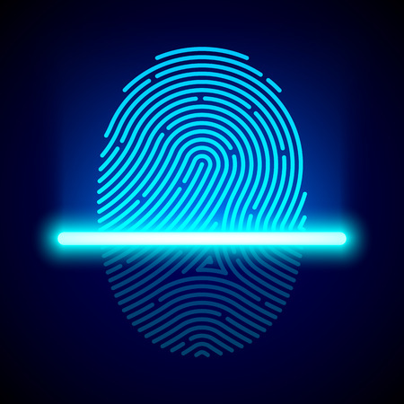 identity protection: Fingerprint scanner, identification system Illustration