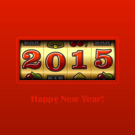Año Nuevo 2015 de máquina tragaperras tarjeta feliz